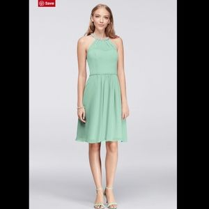NWT DAVID'S BRIDAL Beaded Illusion Neck Dress. 12